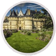 Round Beach Towel featuring the photograph Castle Chaumont With Garden by Heiko Koehrer-Wagner