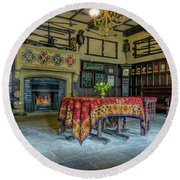Round Beach Towel featuring the photograph Castle Dining Room by Ian Mitchell