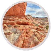 Castle High Above Wash 5 In Valley Of Fire Round Beach Towel by Ray Mathis