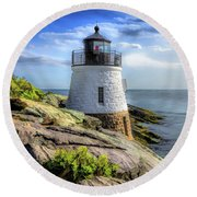 Round Beach Towel featuring the painting Castle Hill Lighthouse by Christopher Arndt