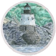 Castle Hill Lighthouse Round Beach Towel