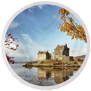 Castle In Autumn Round Beach Towel