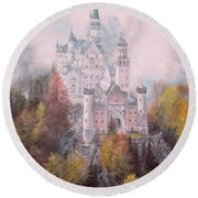 Castle In The Clouds Round Beach Towel