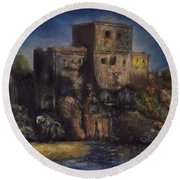 Castle In The Rocks Round Beach Towel