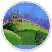 Round Beach Towel featuring the painting Castle In The Sky by Johanne Peale