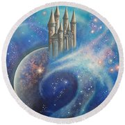Castle In The Stars Round Beach Towel