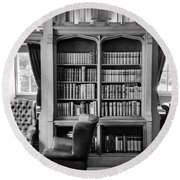 Round Beach Towel featuring the photograph Castle Library by Christi Kraft