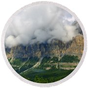 Castle Mountain Round Beach Towel by Elfriede Fulda