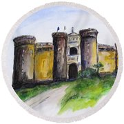 Castle Nuovo, Napoli Round Beach Towel by Clyde J Kell