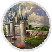Castle Of Dreams Round Beach Towel