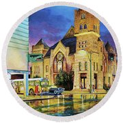 Castle Of Imagination Round Beach Towel