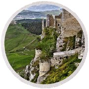Castle Of Pietraperzia Round Beach Towel