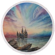 Castle On A Lake Round Beach Towel