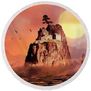 Castle On Seastack Round Beach Towel