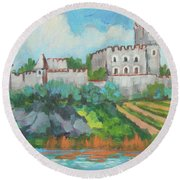 Round Beach Towel featuring the painting Castle On The Upper Rhine River by Diane McClary