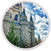 Castle Perspective Round Beach Towel