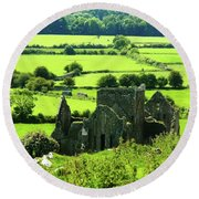 Castle Ruins Countryside Round Beach Towel