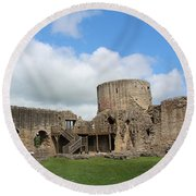 Castle Ruins Round Beach Towel