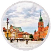 Castle Square, Warsaw Round Beach Towel