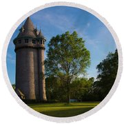 Castle Turret On The Green Round Beach Towel