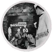Castle Village Air Raid Shelter Round Beach Towel