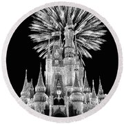 Castle With Fireworks In Black And White Walt Disney World Mp Round Beach Towel