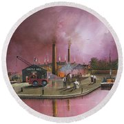 Round Beach Towel featuring the painting Castlemill Yard by Ken Wood