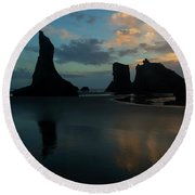 Round Beach Towel featuring the photograph Castles In The Sand by Mike Dawson