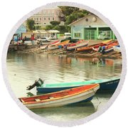 Round Beach Towel featuring the photograph Castries Harbor Waterfront by Roupen  Baker