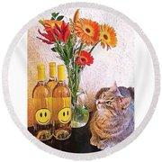 #cat + #wine + #flowers = The #caturday Round Beach Towel