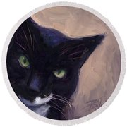Cat A Tude Round Beach Towel by Billie Colson