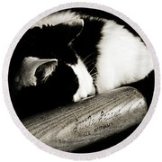Cat And Bat Round Beach Towel