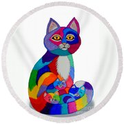 Cat And Kittens 2 Round Beach Towel by Nick Gustafson