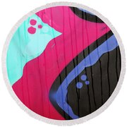 Cat And The Moon  Round Beach Towel