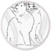 Cat-art-curious Round Beach Towel