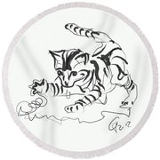 Cat- Cute Kitty  Round Beach Towel