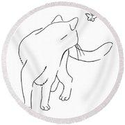 Cat-drawings-black-white-2 Round Beach Towel