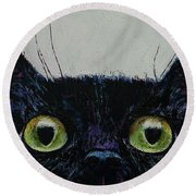 Cat Eyes Round Beach Towel by Michael Creese