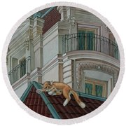 Cat From A Boulevard Saint-michel Round Beach Towel