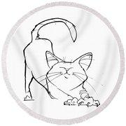 Cat Gesture Sketch Round Beach Towel