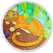 Cat In A Tree Round Beach Towel