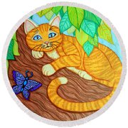 Cat In A Tree Round Beach Towel by Nick Gustafson