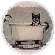 Cat In The Bathtub Round Beach Towel