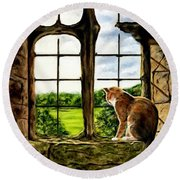 Cat In The Castle Window Round Beach Towel