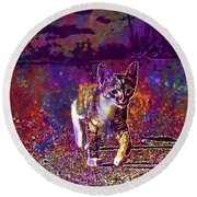 Round Beach Towel featuring the digital art Cat Kitten Cat Baby Mackerel  by PixBreak Art