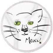 Cat Meow Round Beach Towel
