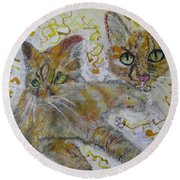 Cat Named Phoenicia Round Beach Towel by AJ Brown