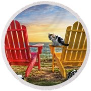 Round Beach Towel featuring the photograph Cat Nap At The Beach by Debra and Dave Vanderlaan