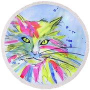 Cat Of Many Colors Round Beach Towel