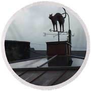 Cat On A Cool Tin Roof Round Beach Towel